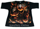 Spiral Direct Inferno Skeleton Ribcage Flames Bones T-shirt Black Mens M, L, XL