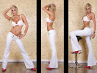 Sexy Office Style Bootcut Trousers Pants White With Belt Size 8-14