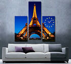 Eiffel Tower Modern Decorative Wall Clock On Quality Canvas Prints Set Of 3