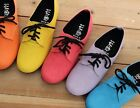BN Women's Lace Up Flat Oxford Flats Boots Shoes Blue Red Pink Yellow Purple BLK