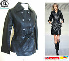 LADIES WOMAN MILITARY LEATHER JACKET BLAZER TRENCH COAT MAC VTG BIKER BOMBER