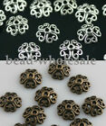 100pcs Retro Silver/Bronze Tone Flower Bead Caps Finding 8mm U Choose Color