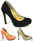 LADIES OFFICE WORK PARTY STILETTO HEEL PUMPS FAUX LEATHER COURT SHOES SIZE 3-8