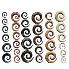 1 x Wood Ear Spiral Plug Organic Stretched Lobe Ebony Saba Crocodile Teak Areng
