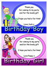 Childrens Personalised Party Thank You Cards - Boy/Girl, Various pack sizes
