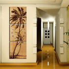 Brown Palm Trees Unique Wall Art On Quality Canvas Set Of 3 FRAMED With Clock