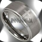 10MM Wide Mens Tungsten Ring w/ 4 Christian Crosses Wedding Bands Size 7-16 NEW