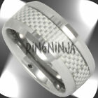 10MM Tungsten & White Carbon Fiber Band Mens Wedding Ring Engraving Available