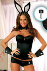 NWT PLAYBOY Bunny Playmate Halloween Costume CORSET Set BLACK LARGE Accessories