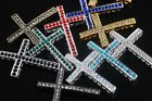 10 Austria Crystal Rhinestones Curved Charm Metal Cross Connectors Finding 35mm