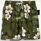Men's Croft & Barrow Swimming Trunks Elastic Band Green Floral NWT  M L XL XXL