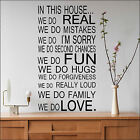 LARGE QUOTE HOUSE RULES FAMILY LOVE FUN ART WALL STICKER STENCIL  VINYL DECAL