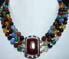 4 colors! fine 3 row red /colorful jade black agate bless lucky wedding necklace