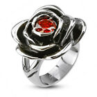 Stainless Steel Women's Rose Flower Ring w/ Red CZ Stone Ring Size 5-8