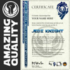 Star Wars JEDI KNIGHT Certificate Ubeliveable Quality with HOLOGRAM Best on Ebay £9.99 GBP