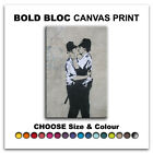 Kissing Coppers BANKSY  Canvas Art Print Box Framed Picture Wall Hanging BBD