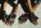 Ladies Girls Genuine Pig Suede Leather Hand Warmer Fingerless Gloves Faux Fur