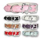 PU Leather Dog Collars Puppy Collar Small Medium Large Rhinestone Diamante Dogs