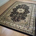 Pendra Traditional Persian Look Rugs In Black & Beige  6  Sizes Available OW217K