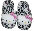 HELLO KITTY SANRIO White Leopard Plush Slippers NWT Girls Size 11/12 or 13/1 $26