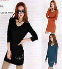 Women's Ladies Long Sleeved Loose Fit V Neck Top / T-shirt / Mini Dress  038