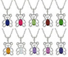 1/4CT Gemstone Diamond Accent Teddy Bear Pendant 10KT White Gold