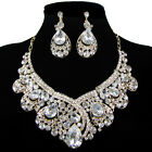 Vintage designed Wedding Bridal Party Tear Drop Earring Necklace Jewelry Set