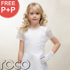 Traditional Girls White Satin Embroidered Holy Communion Dress Dolly Bag 7-10 y