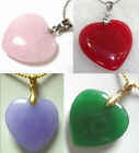 charm lovely green/pink/purple/red heart love jade pendant free chain