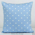 Clarke and Clarke Powder Blue Polka Dotty white spot cushion covers.16 inch, zip