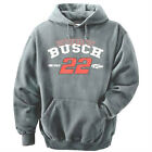KURT BUSCH #22 SHELL PENNZOIL MENS GRAY HOODED SWEATSHIRT - CLEARANCE