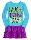 NWT Justice Girls Laugh Every Day Sequin Tulle Tunic Dress Top U Pick Size NEW