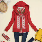 Womens Chic Vogue Hoodies Hooded Zipper Jackets Snowflake Ethnic Outerwears Lace