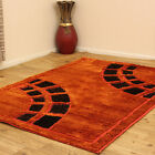 LARGE & MEDIUM THICK SUPER SOFT ORANGE BROWN SHINY SHIMMER SPARKLE SHAGGY RUG