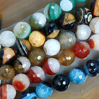 Faceted Druzy Agate Round Gemstone Beads Pick Size Color