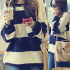Classical Women Stripe Pullover Sweater Jumpers Knitting Knit Tops Crew Neck New