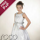 Girls White Dress with Silver Waistband Wedding Flowergril Communion Dresses