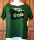 HURLEY DISTRESSED BLACK PALM TREE BEACH DRIP GREEN SCOOP NECK TEE T SHIRT NWT F
