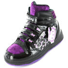 Girls SIZE 8 - 2 HELLO KITTY Black HI TOP TRAINERS Boots Velcro Shoes GERANIUM