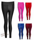 Womens Ladies American Disco High Waisted PVC Shiny Wet Look Pants Leggings 8-14