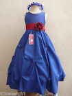 ROYAL BLUE APPLE RED PAGEANT FLOWER GIRL DRESS 2T 2 3 4 5 6X 6 7 8 9 10 12 14