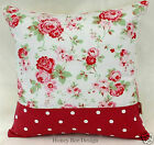 Cath Kidston Rosali Floral White Dotty cushion cover with Concealed zip fasting