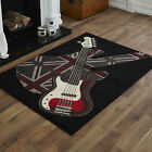 LARGE XL MODERN BLACK RED GREY IVORY CREAM GUITAR BOYS ROCK UNION JACK URBAN RUG