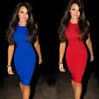 Women Stretchy zipper&split back contrast patched Cocktail Pencil Dress Y557