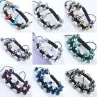 Women Faceted Crystal Glass Rondelle Hematite Ball Beads Bracelet Woven Macrame