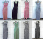 SUMMER BEACH Striped Sleeveless Tank Raceback Full Length Long Maxi Dress S/M/L