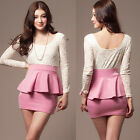 Elegant Womens Patchwork See-through Lace Two Tones Long Sleeve Mini Dress New