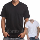 Mens BASIC V-NECK T SHIRTS Plain Solid Tee Top Short Sleeve BLACK WHITE 5XL