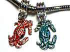 RED OR BLUE CRAB CHARM FITS EUROPEAN BRACELETS - BUY 3 GET 1 FREE