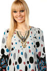 LADIES VINTAGE DRESS PAISLEY WOMEN SHIFT TUNIC TOP JUMPER POLKA DOT BLOUSE STUD